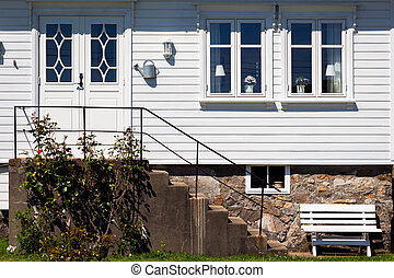 traditional norwegian white wooden house, norway