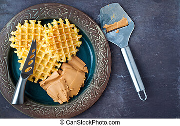 Traditional Norwegian breakfast of home made waffles