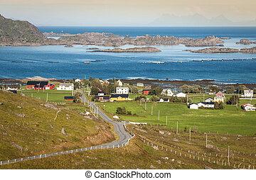 Traditional norwegian colorful houses ,Lofoten islands, Norway