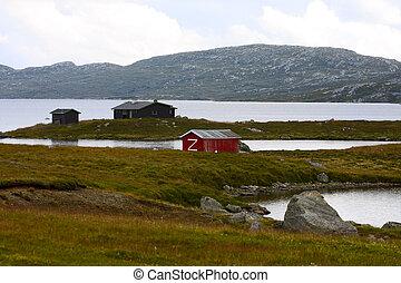 houses on a lake shore