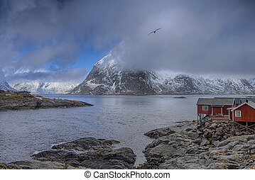 Traditional Norwegian Village Hamnoy at Lofoten Island in...
