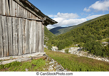 Traditional norwegian wooden farm and forest. Norway rural landscape.