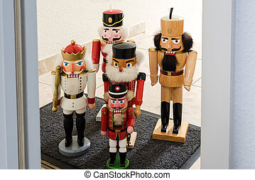 Traditional Nutcrackers Waiting For Entrance