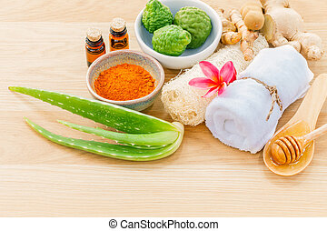 Traditional of thai skin care ingredients. - Macro shot with...