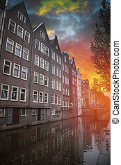 Traditional old buildings in Amsterdam