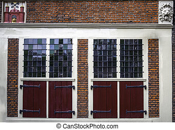 Traditional old door red in Amsterdam