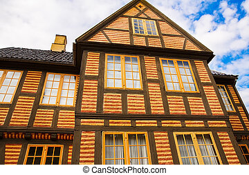 Traditional old house in Oslo, Norway.