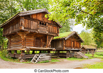 Traditional old houses in Oslo - Traditional old wooden...