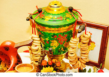 traditional old Russian tea kettle with bagels
