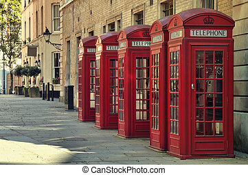 Traditional old style UK red phone boxes in London.