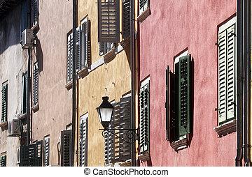 Traditional old town architecture of Rovinj, Croatia. Istria touristic attraction
