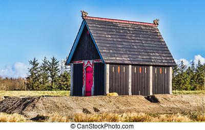 Traditional old Viking Age church in Bork village, Denmark