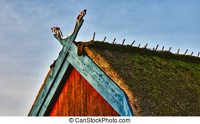 Traditional old Viking Age house hut in Bork village, Denmark,