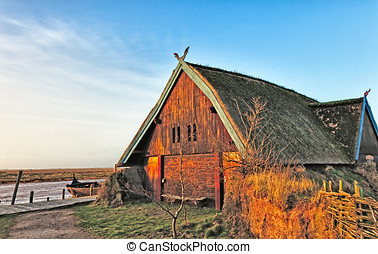 Traditional old Viking Age house hut in Bork village, Denmark