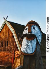 Traditional old Viking Age house hut in Bork village, Denmark, detail