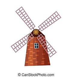 Traditional old windmill building icon