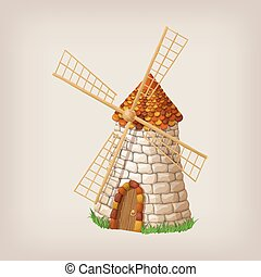 Traditional old windmill building single object color painted concept.