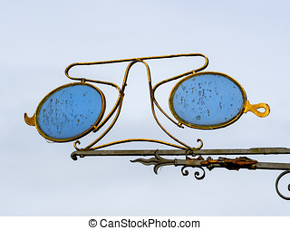 Traditional opticians sign in Ribe, Denmark