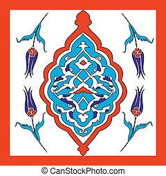 Traditional Oriental Art, of handmade Turkish tiles,