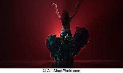 Traditional oriental belly dancer girl dancing . Red smoke...
