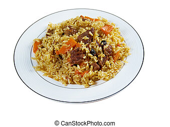 Traditional oriental pilaf. close up