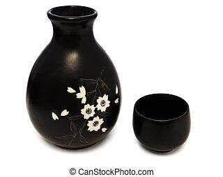 Sake set - Traditional oriental style Sake set from a jug ...
