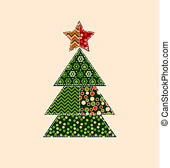 traditional ornament patchwork xmas tree illustration. cosy Christmas tree motif with assorted fabrics. red and green abstract Christmas vector element.