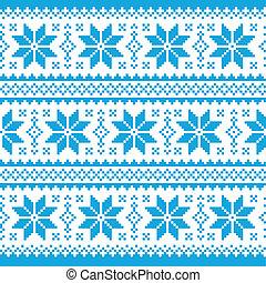Traditional ornamental christmas kn - Blue winter and xmas...