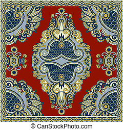 Traditional ornamental floral paisley bandanna. You can use...