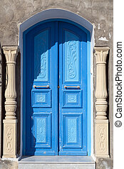 Traditional ornamental Tunisian door, detail from typical ...