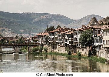 Traditional Ottoman Houses in Amasya, Turkey - River scene...