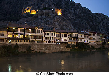 Traditional Ottoman houses in Amasya, Turkey - Night picture...