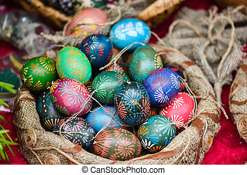 Traditional painted eastern eggs in handicraft mart Kaziukas, Vilnius, Lithuania