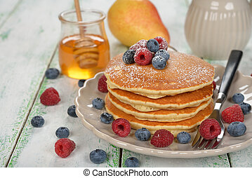 Traditional pancakes with berries