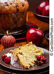 Traditional panettone cake for Christmas
