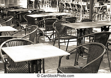 traditional Parisian coffee - Empty coffee terrace in...