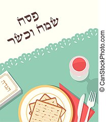 traditional passover table for Passover dinner with passover plate and Hagaddah story. happy and kosher passover in Hebrew