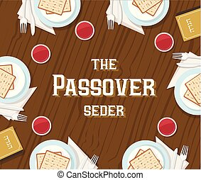 traditional passover table with passover plate and Haggadah...