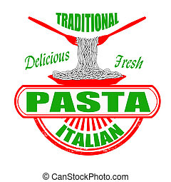 Traditional pasta grunge rubber stamp on white, vector illustration