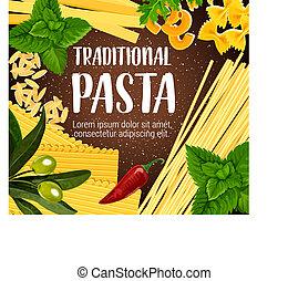 Traditional pasta with seasoning, vector - Italian...