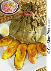 Traditional Peruvian food called Juane from the jungle area....