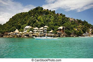 Island Boracay - Traditional Philippine boat in a gulf....