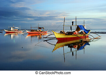 Tropical landscape with traditional Philippines boats , Philippines