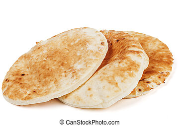 Traditional Pita on White - Traditional pitta stack isolated...