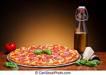 traditional pizza - traditional italian salami pizza still...