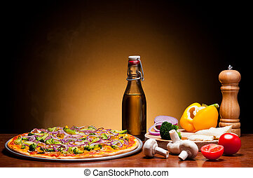 traditional pizza with vegetables