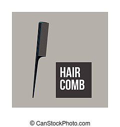 Traditional plastic black hairdresser comb, sketch style vector illustration