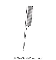 Traditional plastic black hairdresser comb, sketch style vector illustration
