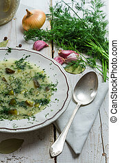 Traditional plate of cucumber soup with dill