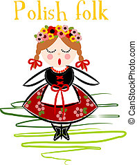 Traditional Polish Costume (Cracovie) - Vector. - ...